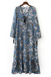 Chic Lace-Up V-Neck Pendant Spliced Printed Midi Dress For Women -