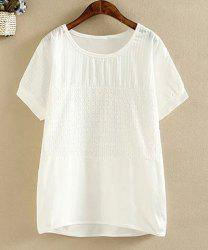 Simple Style Round Collar Short Sleeve White Loose T-Shirt For Women -