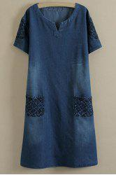 Embroidered Casual Denim Dress With Pockets - DEEP BLUE 2XL