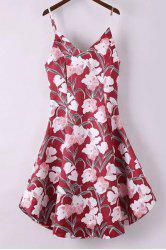 Spaghetti Strap A Line Floral Print Summer Dress