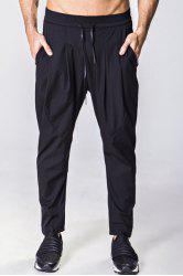 Lace-Up Solid Color Low-Slung Crotch Narrow Feet Pants For Men -