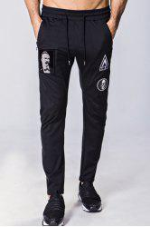 Lace-Up Figure Skull and Letters Embroidered Narrow Feet Pants For Men