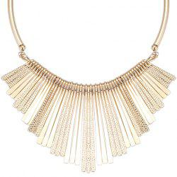 Alloy Embossed Long Metal Bars Fringed Necklace