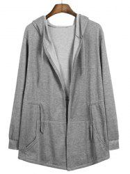 Front Pocket Drawstring Waist Solid Color Hooded Long Sleeves Cloak Jacket For Men - GRAY