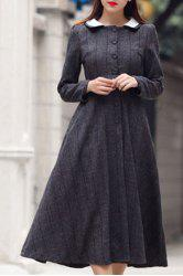 Retro Style Peter Pan Collar Long Sleeves High-Waisted Dress For Women