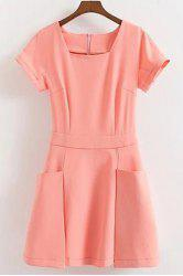 Sweet Short Sleeve Pocket Design Solid Color Dress For Women -