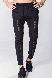 Lace-Up Letter Appliques Splicing Design Beam Feet Pants For Men - BLACK