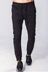 Lace-Up Solid Color Embroidered Zipper Pocket Beam Feet Pants For Men - BLACK L