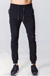 Lace-Up Solid Color Zipper Pocket Beam Feet Pants For Men -
