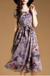 Floral Print Midi Chiffon Summer Holiday Dress - COLORMIX S