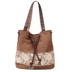 Simple Floral Print and Canvas Design Beach Shoulder Bag - BROWN