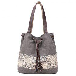 Simple Floral Print and Canvas Design Beach Shoulder Bag - GRAY
