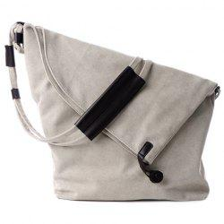 Leisure Canvas and Button Design Shoulder Bag For Women - OFF-WHITE