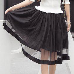 See-Through A-Line Midi Mesh Skirt