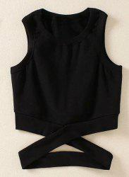 Fashionable Jewel Collar Criss-Cross Solid Color Tank Top For Women -