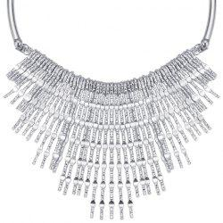 Punk Embossed Long Strips Fringed Necklace -