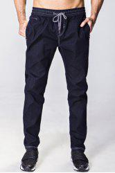 Narrow Feet Bleach Wash Drawstring Denim Jogger Pants - DEEP BLUE