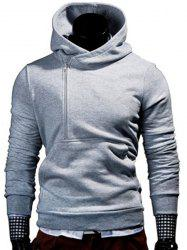 Half Zipper Front Pocket Letters Print Hooded Long Sleeves Hoodie For Men