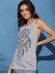 Backless Tunic Graphic Tank Top -