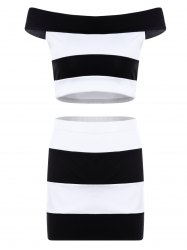 Trendy Slash Neck Striped Crop Top and Sheath Skirt Twinset For Women -