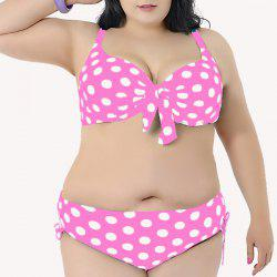 Sweet Spaghetti Strap Polka Dot Print Bikini Set For Women