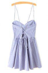Spaghetti Strap Sleeveless Striped Mini Skater Dress - BLUE