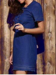 Plunging Neck Blue Short Sleeve Denim Dress For Women