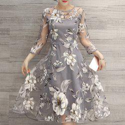 See-Through Floral Print Midi Organza Dress - LIGHT GRAY