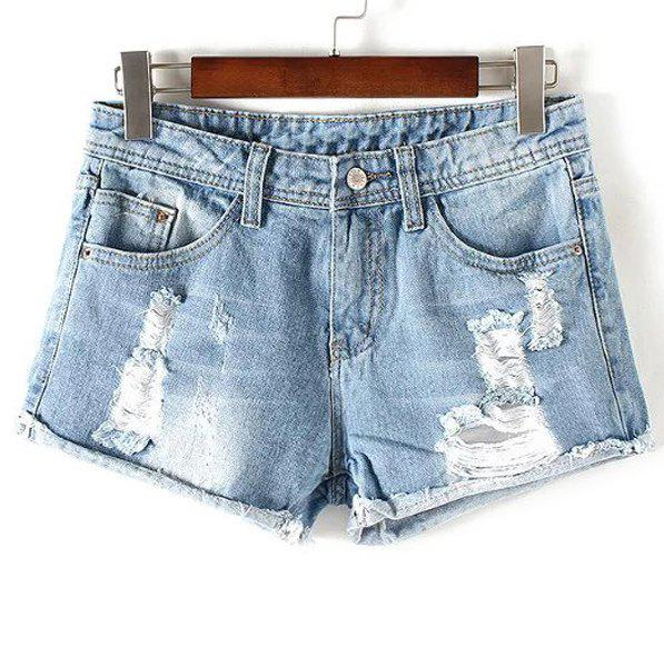 4ff073f4ad Outfit Stylish Destroy Wash Frayed Low Waist Denim Jeans Shorts For Women