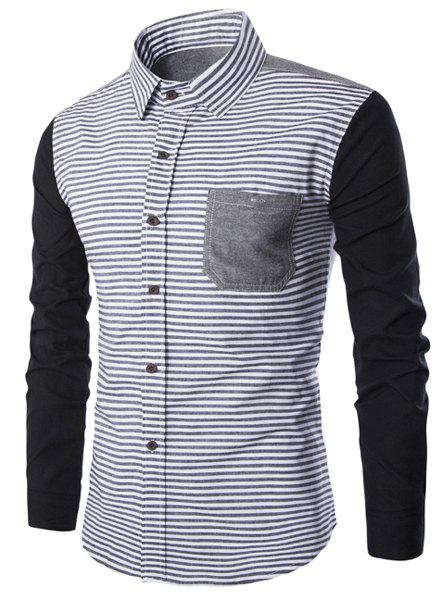 Online Turn-Down Collar Stripe Print Spliced Design Long Sleeve Shirt For Men