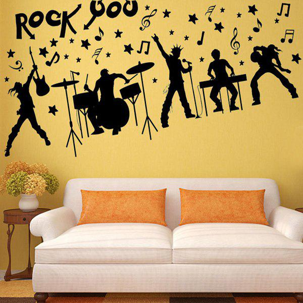 Black Rock Band Silhouette Musical Wall Art Stickers For Bedrooms ...