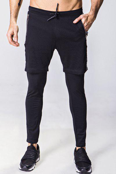 aa210016eb70f Buy Faux Twinset Lace-Up Letter Appliques Mesh Spliced Narrow Feet Pants  For Men