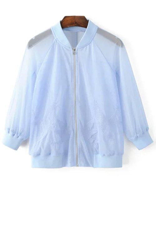 Affordable Chic See-Through Bird Embroidered Women's Sunscreen Jacket