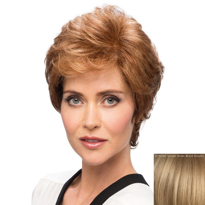 Outfit Bouffant Curly Side Bang Capless Elegant Short Human Hair Wig