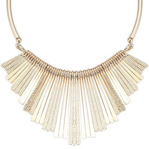 Alloy Embossed Long Metal Bars Fringed NecklaceJEWELRY<br><br>Color: GOLDEN; Item Type: Pendant Necklace; Gender: For Women; Style: Trendy; Shape/Pattern: Others; Weight: 0.090 kg; Package Contents: 1 x Necklace;