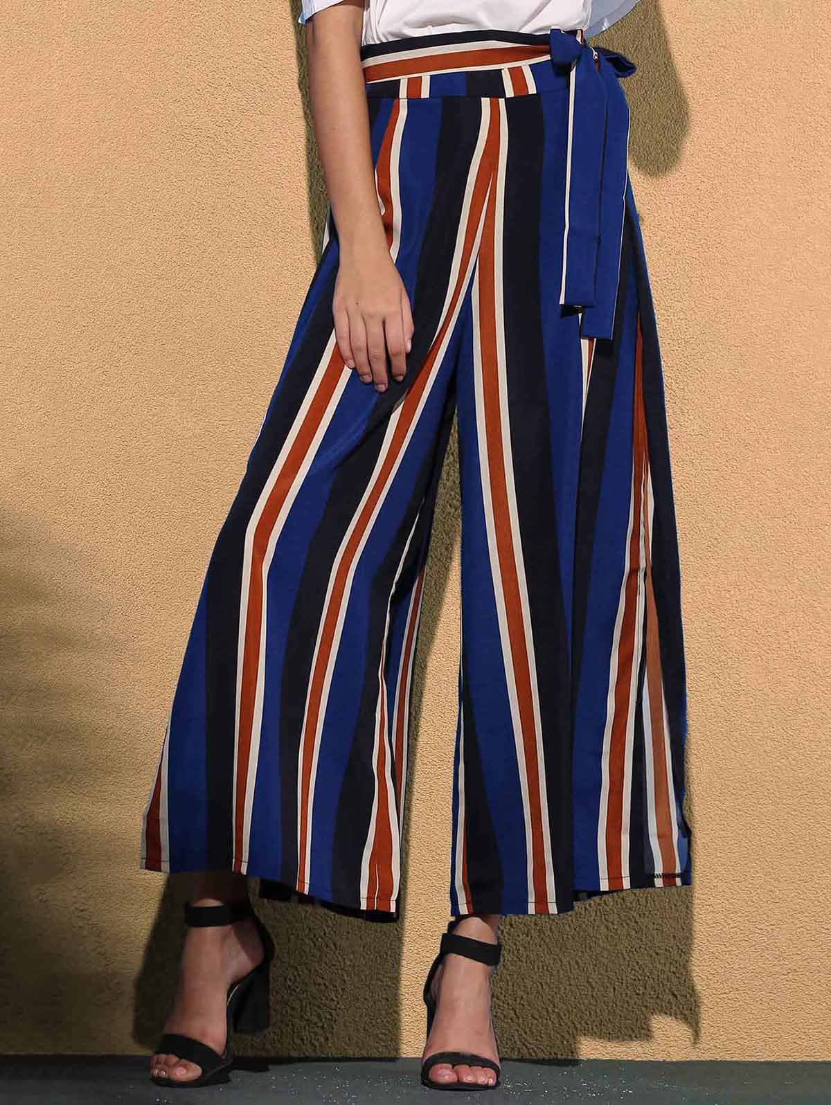 Fancy Stiped Wide Leg Palazzo Pants With Slits