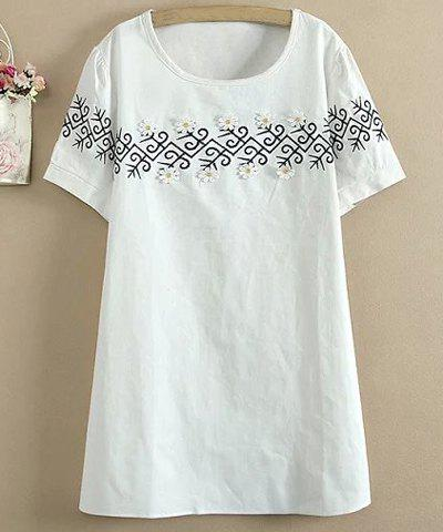 Cheap Sweet Style Round Collar Short Sleeve Flower Embellished Loose Mini Dress For Women