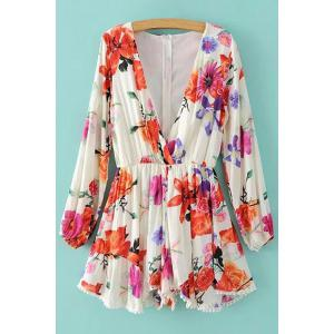 Trendy Plunging Neck Long Sleeve Floral Print Romper For Women