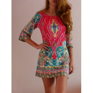 Bohemian Off The Shoulder African Style Print Dress -