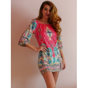 Bohemian Off The Shoulder African Style Print Dress - COLORMIX L