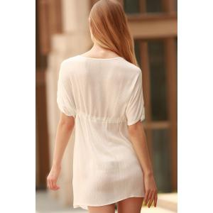 Plunging Neck Short Sleeve Hollow Out Women Cover-Up -