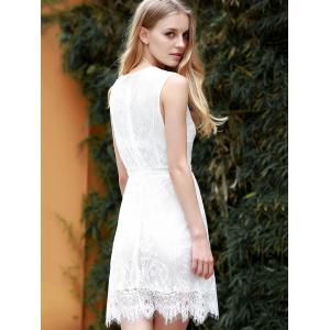 Lace Plunging Neck Sleeveless Club Dress - WHITE M