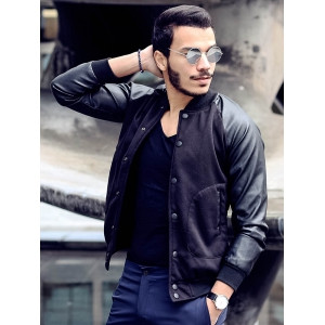 Stylish Stand Collar Slimming Large Pocket Color Splicing Long Sleeve Polyester Jacket For Men -