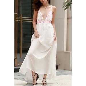 Embroidered Backless Slip Tart Maxi Dress