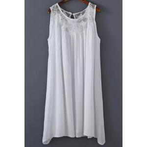Stylish Round Neck Sleeveless White Lace Splicing Women's Dress