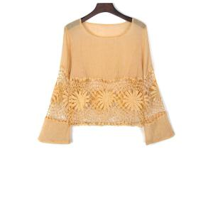 Stylish Round Neck Flare Sleeve Lace Spliced Cut Out Women's Blouse - Yellow - S
