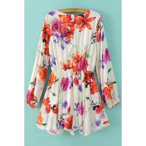 Trendy Plunging Neck Long Sleeve Floral Print Romper For Women -
