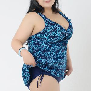 Brief Plunging Neck Printed Swimsuit For Women -