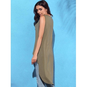 High Low Drop Armhole Long Tank Top -