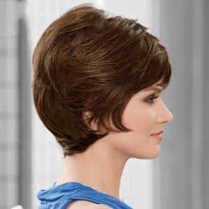 Fluffy Short Wave Capless Noble Side Bang Human Hair Wig -